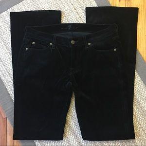 7FAM | Black velvet bootcut jeans cheetah pockets
